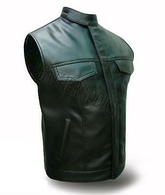 Mens Biker Style Real Cow Leather Black Motorcycle Vest Waistcoat