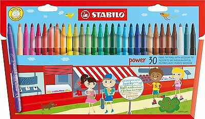 Stabilo Power Fibre Felt Tip Pens Wallet of 30 Asst Colours.
