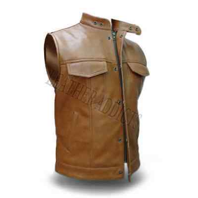 Mens Biker Style Vest Genuine Cow Leather Brown Motorcycle Waistcoat