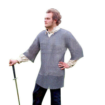 Medieval Chainmail Shirt Large Size Rust Proof Black Plated Butted