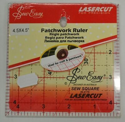 """Sew Easy Patchwork Ruler 4.5"""" Square, Lasercut, For Crafts & Patchwork (TP)"""