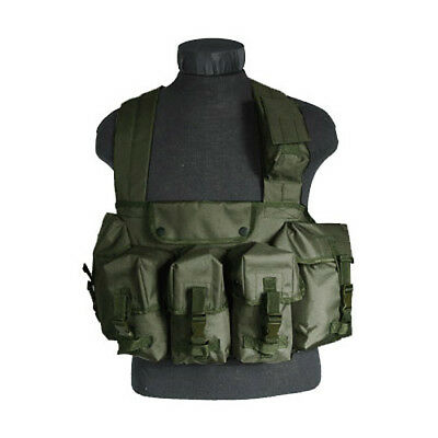 Tactical Magazine Chest Rig Carry Vest 6 Pockets Combat Webbing Carrier Olive Od