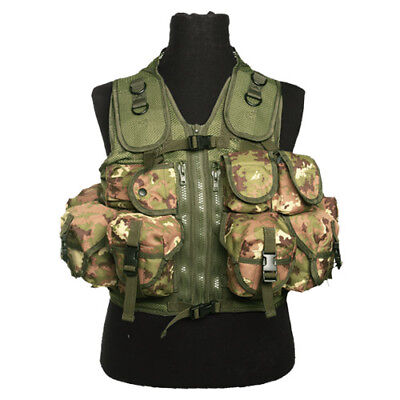 Military Tactical Assault Vest 9 Pockets Webbing Carrier Vegetato Woodland Camo