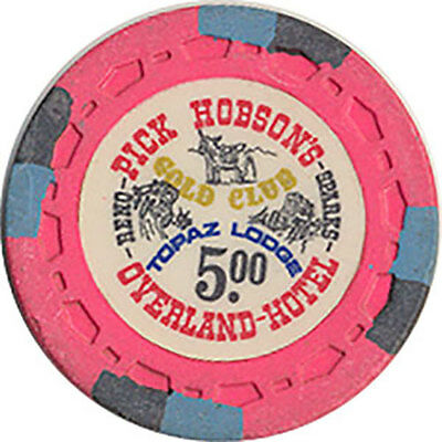(1) Pick Hobsons Overland $5 Casino Chip Topaz/Reno/Sparks Nv Free Shipping *