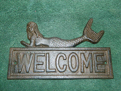 Rustic Iron Nautical Sea Mystical Mermaid Welcome Wall Plaque Door Wall Porch