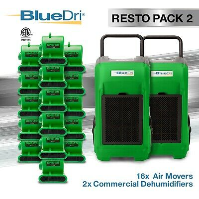 BlueDri® Resto Pack 2 | 2 BD76 Commercial Dehumidifier 16 One-29 Air Mover Geen