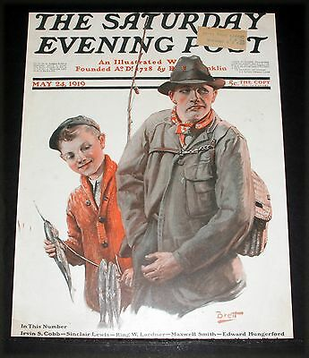 1919 Old Saturday Evening Post Magazine Cover (Only) Brett Trout Fishing Art!