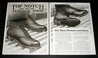 "1919 Old Magazine Print Ad, Top Notch ""win-The-War"" Shoes, For Men, Women, Boys!"