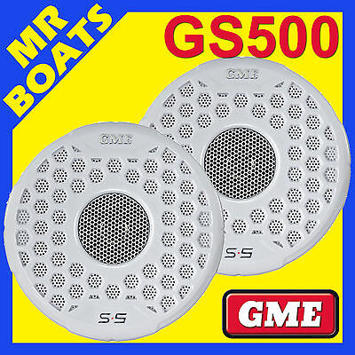 2 x GME ✱ GS500 MARINE FLUSH MOUNT SPEAKERS 110W ✱ 163mm WHITE PAIR Boat S5 NEW