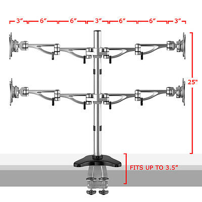Quad Arms LCD Full Motion Monitor Desk Mount Holder Stand 10 15 17 19 22 23 24