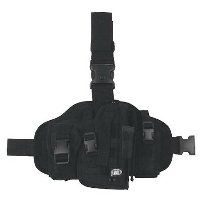 Security Tactical Combat Army Military Molle Carrier Leg Holster 2 Pouches Black