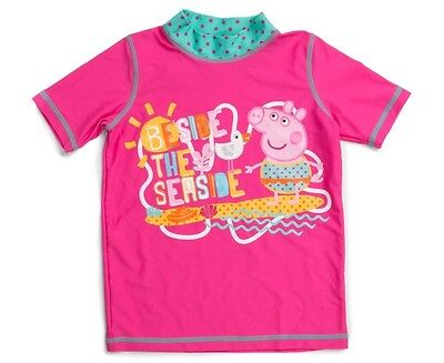 Girls Toddlers Peppa Pig Pink Rash Vest Top Swimwear Sun Protection Ass Sizes