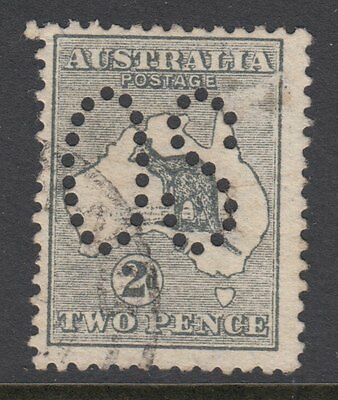 AUSTRALIA KANGAROO OFFICIAL :1913 2d grey punctured large  'OS' SG O3 used