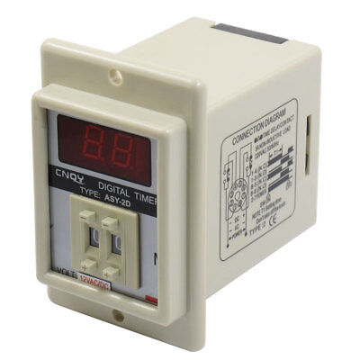 ASY-2D AC/DC 12V 9.9 Minute Digital Timer Programmable Time Delay Relay White