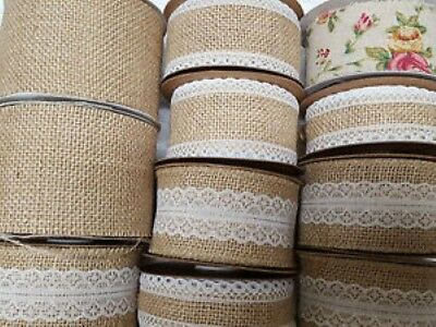 Burlap Hessian Jute Ribbon with Lace Plain & Vintage Rose Wedding Cut to order