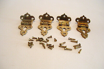 4 Reproduction Icebox  Refridgerator Hinges Cast Brass Offset New Old Stock