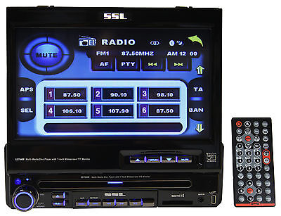 "SSL SD704M Single DIN In-Dash 7"" Car Monitor DVD/CD Player Receiver W/USB/SD/Aux"