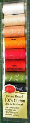 Sew Easy 10 x 500m Spools Pack QUILTING Thread, 100% Cotton, 10 Assorted Colours