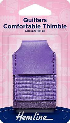 Hemline Quilters Comfortable Thimble, One Size Fits All, Imitation Leather.