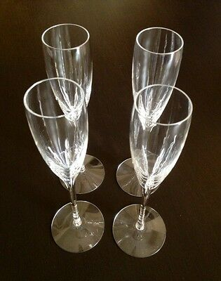 """A Set of Four (4) Lenox Crystal 9 3/8"""" Tall Champagne Flutes Glass Pristine NEW"""