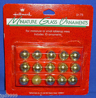 Package of 15 Hallmark Miniature Glass Ball Gold Colored Christmas Ornaments NIP