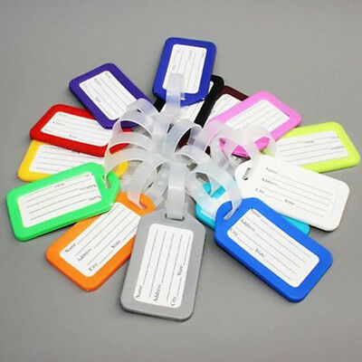 10* Travel Luggage Bag Tag Name Address ID Label Plastic Suitcase Baggage Tags