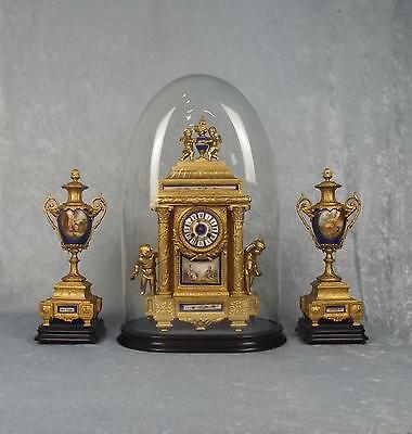 Circa 1900 Fine French Cased Ormolu Two Train Mantel Clock With Garnitures