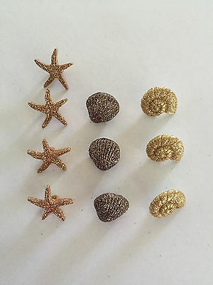 Brown glittering seashells and starfish Novelty Dress It Up buttons  452