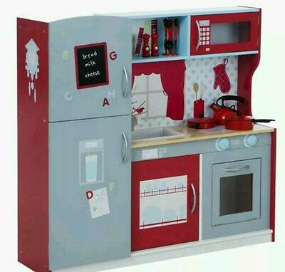 New kids pretend play large wooden kitchen set micowave oven fridge sink 104cm