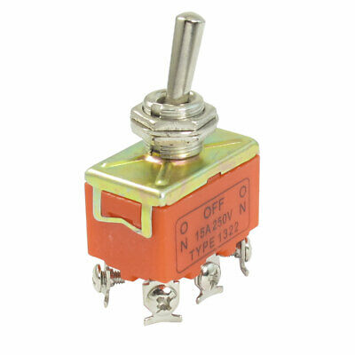 On/Off SPST Metal Handle 4 Pin Terminal Toggle Switch AC 250V 15A
