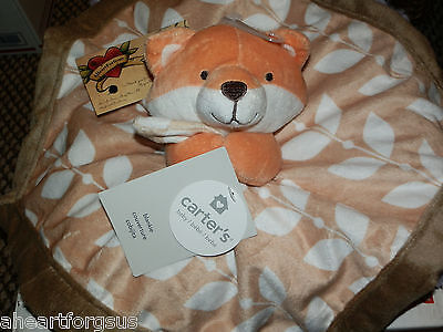 Security Blanket Fox Carter's New Orange Brown Leaves White Nwt Lovey Plush