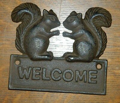 Cute Double Squirrel Welcome Plaque Cast Iron Rustic Lodge Cabin Decor Door ~New