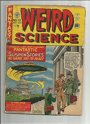 WEIRD SCIENCE #13 Gold Age EC find! Classic flying saucer cover by Al Feldstein!