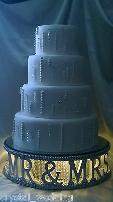 Mr and Mrs diamante wedding cake stand + lights  many words options