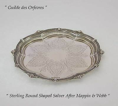 Antiques Sterling Silver Round Shaped Salver, Chased & Pierced Border