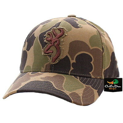 New Browning Flashback Bubble Camo Flexfit Hat Ball Cap Buckmark Logo Sm/md