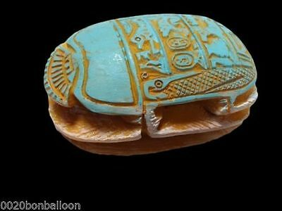 handmade Scarab big Statue egypatian pharaoh paperweight rare X LARGE new!!