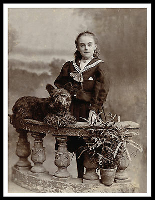 Skye Terrier  And Young Girl Lovely Vintage Style Dog Print Poster