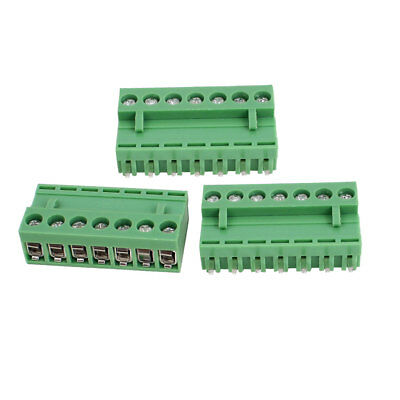 300V 10A 7P Pole 5.08mm PCB Screw Terminal Block Straight Connector 3pcs Green
