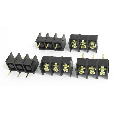5pcs 300V 25A 3P 9.5mm PCB Board Black Screw Terminal Barrier Block Connector