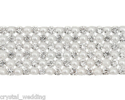 Diamante & White pearl  ribbon banding for wedding cake decoration