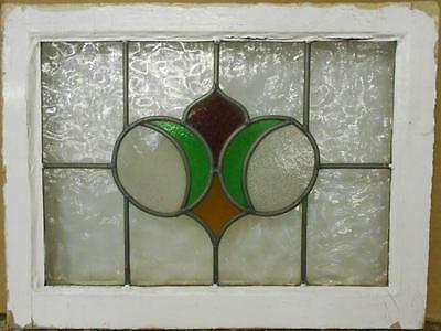 "OLD ENGLISH LEADED STAINED GLASS WINDOW Cute Abstract Floral 22.75"" x 17.25"""