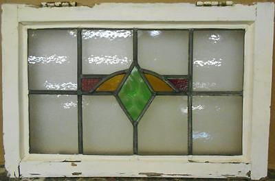 "OLD ENGLISH LEADED STAINED GLASS WINDOW Nice Diamond Design 23.25"" x 15.25"""