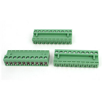 300V 10A 10 Pole 5.08mm Pluggable PCB Screw Terminal Block Connector 3pcs Green