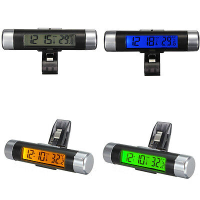Car Bicycle LCD Clip-on Digital backlight Automotive Thermometer Clock Calendar