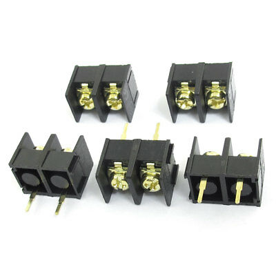 5pcs 300V 25A 9.5mm Pitch PCB Board Black Screw Terminal Barrier Block Connector