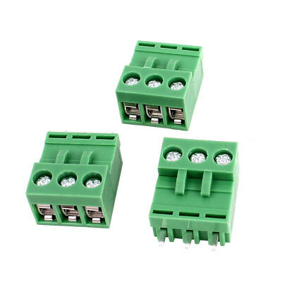 300V 10A 3P 5.08mm PCB Mount Pluggable Screw Terminal Block Connector 3pcs Green