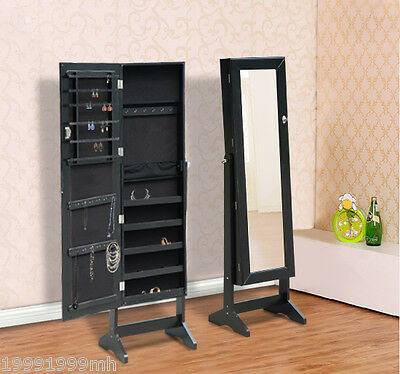Mirrored Jewelry Cabinet Organizer Storage Display Stand Armoire Case Black