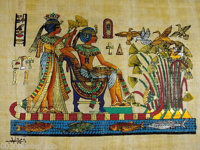 "ORIGINAL HAND PAINTED PAPYRUS 8""x12"" (20x30cm) KING TUT & HIS WIFE IN GARDEN"