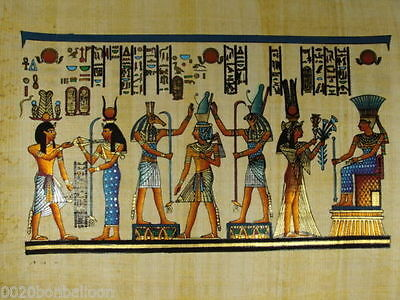 "PHARAOH KINGS & QUEENS ORIGINAL HAND PAINTED PAPYRUS 12""x16"" (30x40 CM)"